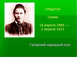 Татарский народный поэт Габдулла Мухамедгари́фович Тукаев 14апреля1886—2