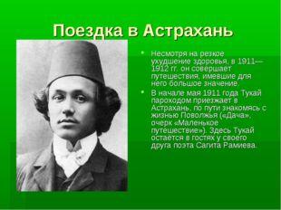 Поездка в Астрахань Несмотря на резкое ухудшение здоровья, в 1911—1912 гг. он