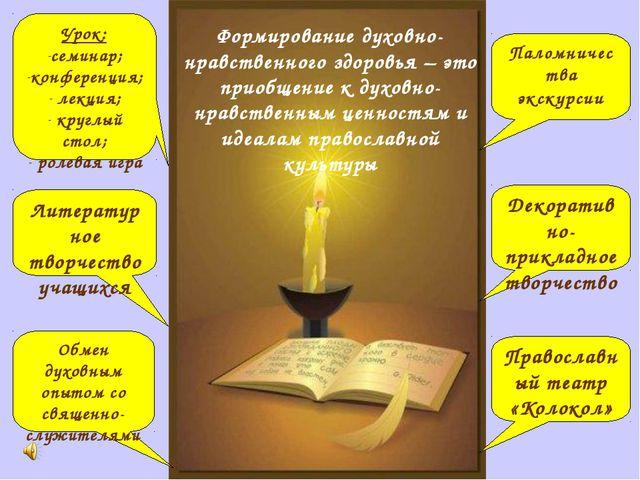 Формирование духовно-нравственного здоровья – это приобщение к духовно-нравст...