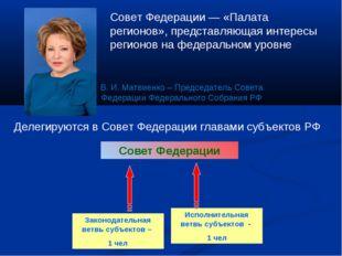 Делегируются в Совет Федерации главами субъектов РФ Совет Федерации Законодат