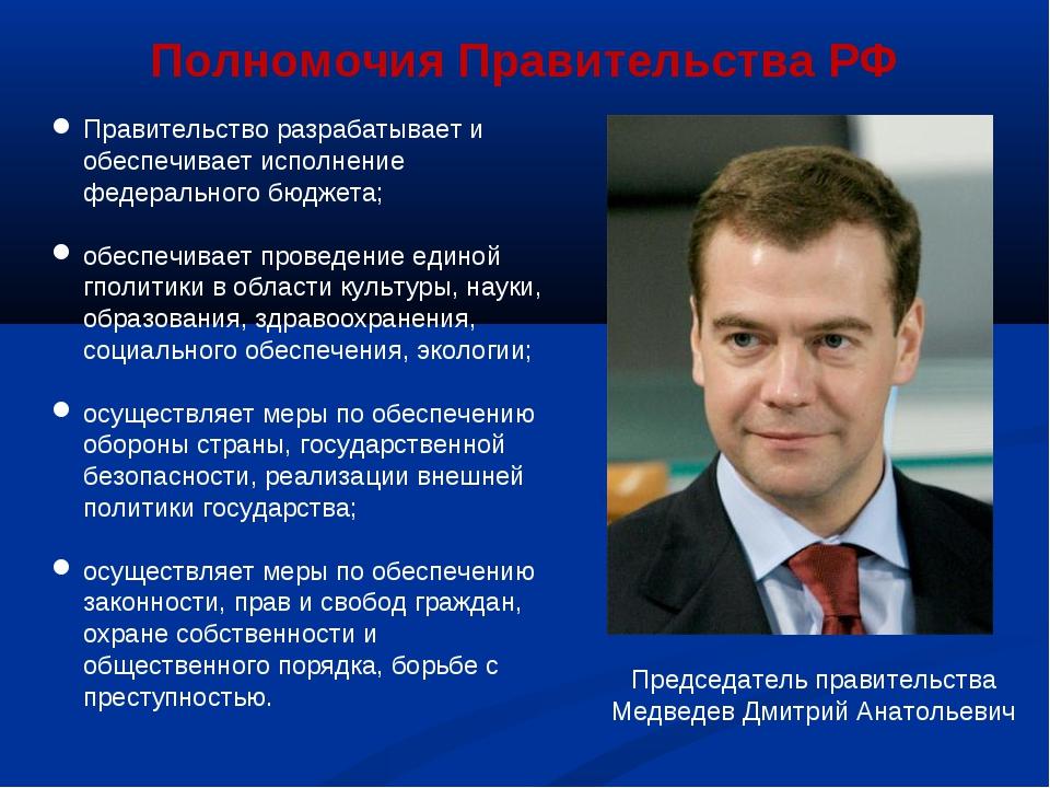 Председатель правительства Медведев Дмитрий Анатольевич Правительство разраба...