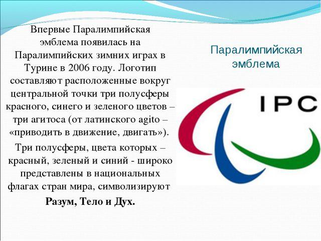 Паралимпийская эмблема Впервые Паралимпийская эмблемапоявилась на Паралимпий...