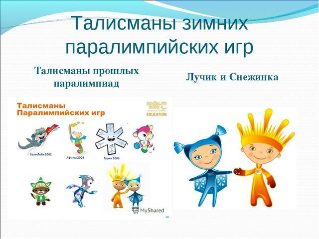 Талисманы зимних паралимпийских игр Талисманы прошлых паралимпиад Лучик и Сне...