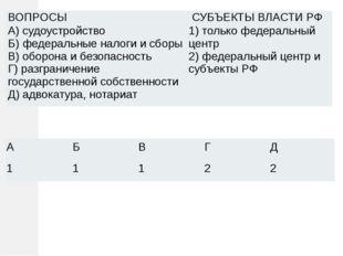ВОПРОСЫ СУБЪЕКТЫ ВЛАСТИ РФ А) судоустройство Б) федеральные налоги и сборы В