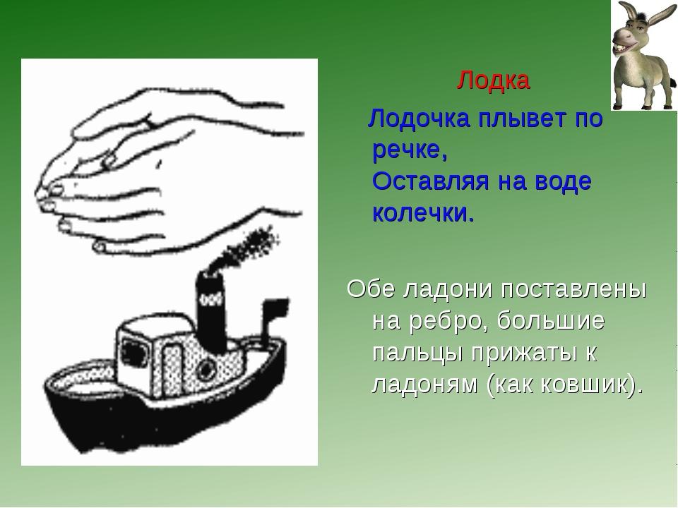 Лодка Лодочка плывет по речке, Оставляя на воде колечки. Обе ладони поставлен...