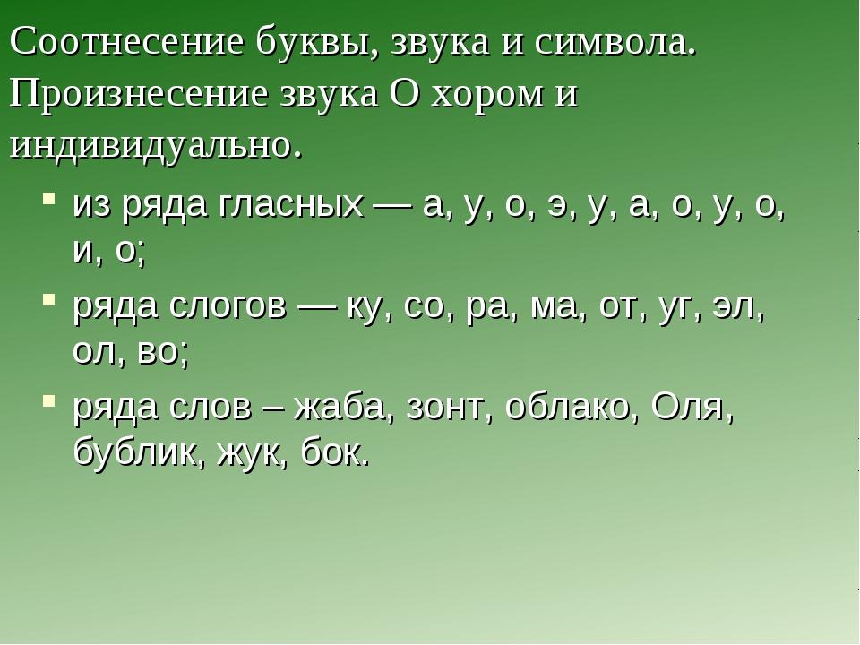 Соотнесение буквы, звука и символа. Произнесение звука О хором и индивидуальн...