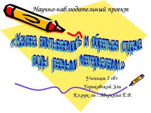 Научно-наблюдательный проект Ученицы 2 «б» Горьковской Эли Кл.рук-ль : Аверки
