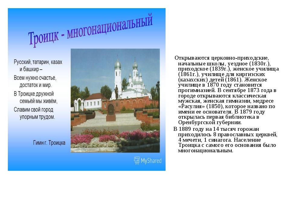 Открываются церковно-приходские, начальные школы, уездное (1830г.), приходск...