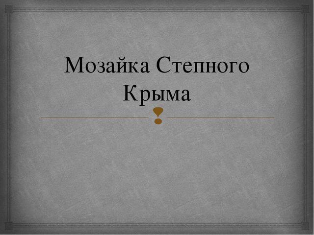 Мозайка Степного Крыма 
