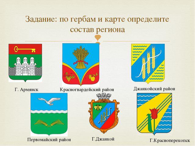 Задание: по гербам и карте определите состав региона Г. Армянск Первомайский...