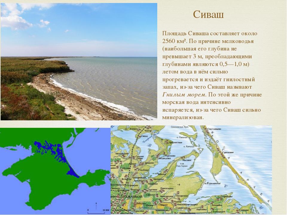 Сиваш Площадь Сиваша составляет около 2560 км². По причине мелководья (наибол...