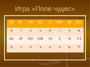 Игра «Поле чудес» 6,2 52 0,9 2,2 3 6,01 46 12,1 в г о ь й т я м 6,4 87 0,01 0