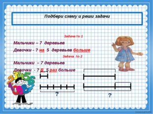 Подбери схему и реши задачи Задача № 1 Мальчики – 7 деревьев Девочки - ? на 5