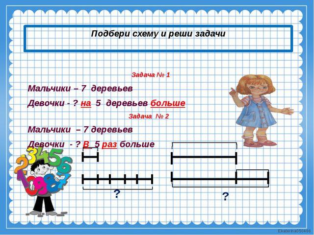 Подбери схему и реши задачи Задача № 1 Мальчики – 7 деревьев Девочки - ? на 5...