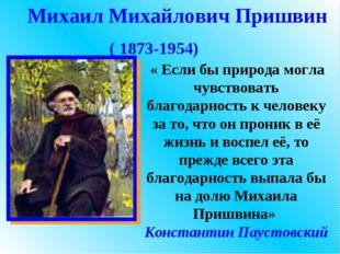 Михаил Михайлович Пришвин ( 1873-1954) « Если бы природа могла чувствовать бл