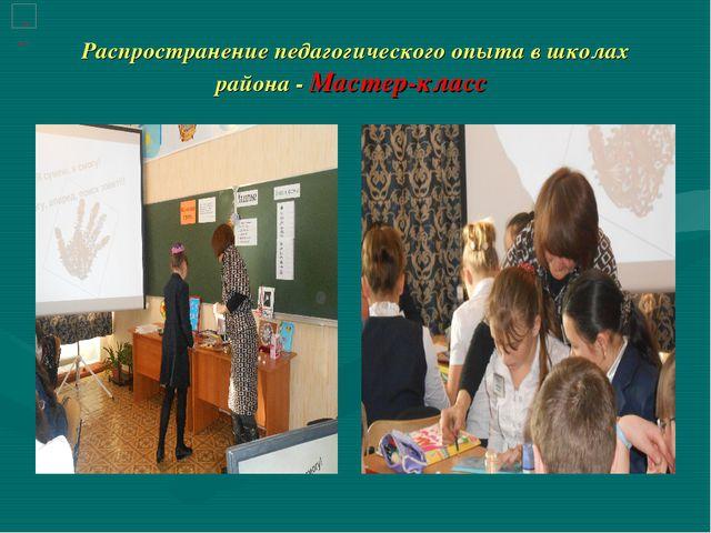 Распространение педагогического опыта в школах района - Мастер-класс