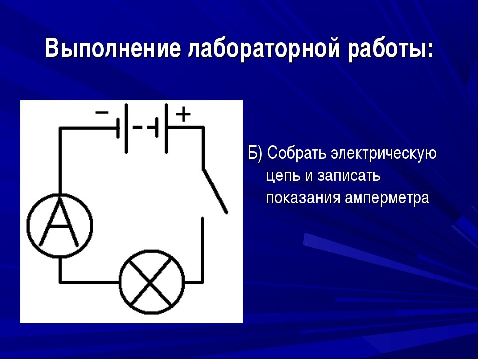Выполнение лабораторной работы: Б) Собрать электрическую цепь и записать пока...