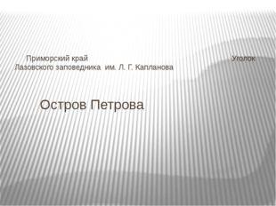 Остров Петрова Приморский край Уголок Лазовского заповедника им. Л. Г. К