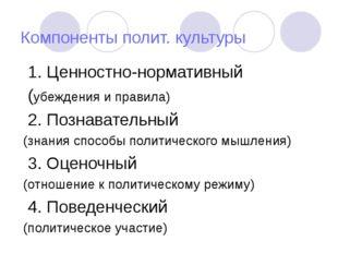 Компоненты полит. культуры 1. Ценностно-нормативный (убеждения и правила) 2.