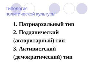 Типология политической культуры 1. Патриархальный тип 2. Подданический (авто