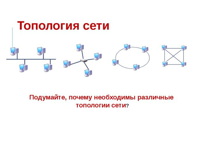 Топология сети Подумайте, почему необходимы различные топологии сети?