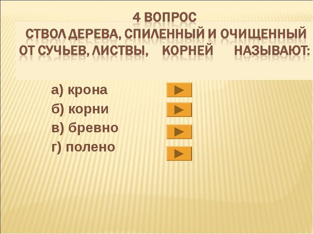 а) крона б) корни в) бревно г) полено
