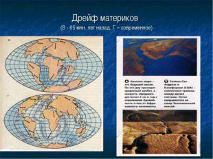 Дрейф материков (В - 65 млн. лет назад, Г – современное)