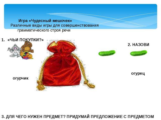 Игра «Чудесный мешочек» Различные виды игры для совершенствования грамматиче...