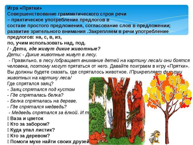 Игра «Прятки» Совершенствование грамматического строя речи – практическое упо...