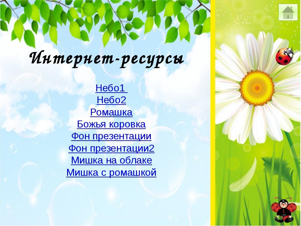 Интернет-ресурсы Небо1 Небо2 Ромашка Божья коровка Фон презентации Фон презен...
