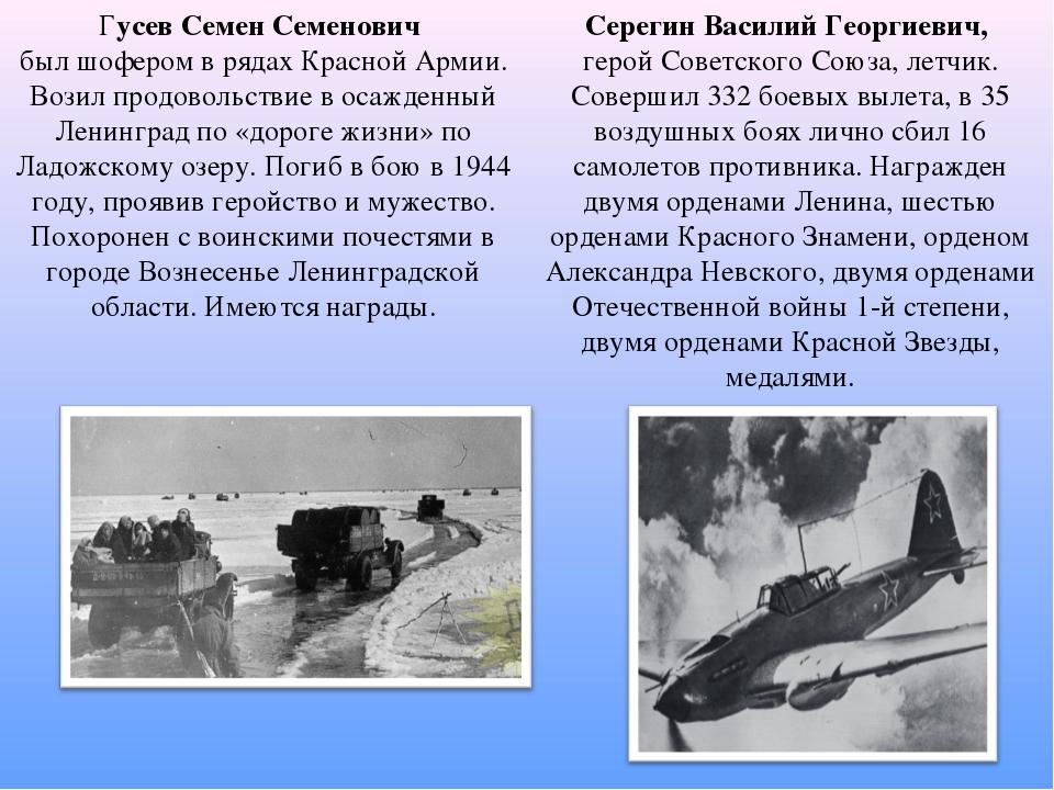 Серегин Василий Георгиевич, герой Советского Союза, летчик. Совершил 332 боев...