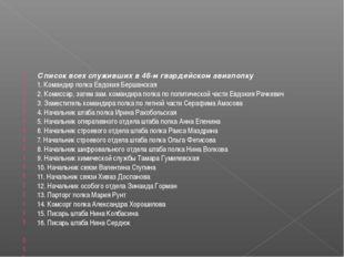 Список всех служивших в 46-м гвардейском авиаполку 1. Командир полка Евдокия