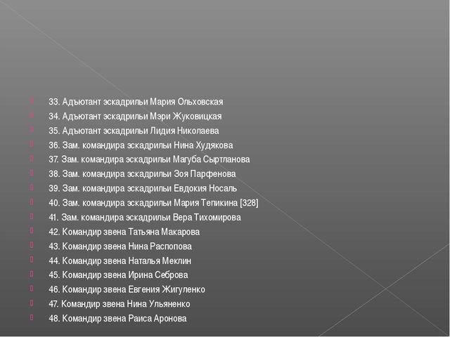 33. Адъютант эскадрильи Мария Ольховская 34. Адъютант эскадрильи Мэри Жуковиц...