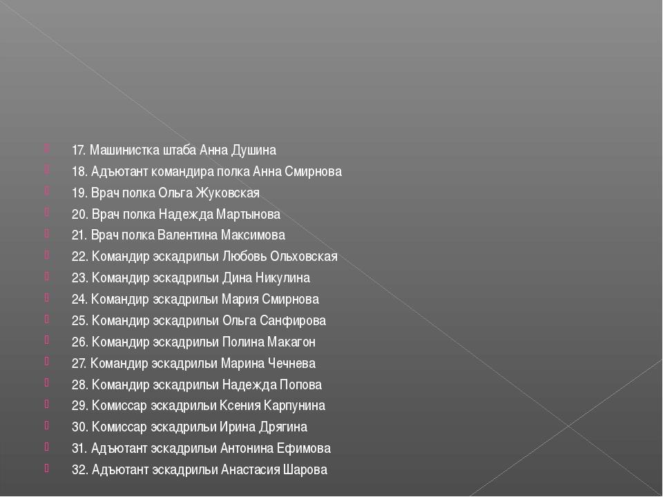 17. Машинистка штаба Анна Душина 18. Адъютант командира полка Анна Смирнова 1...