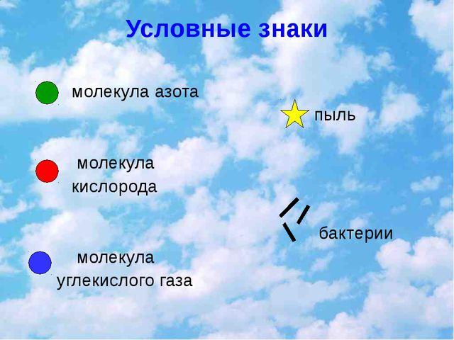 Условные знаки молекула азота молекула кислорода молекула углекислого газа пы...