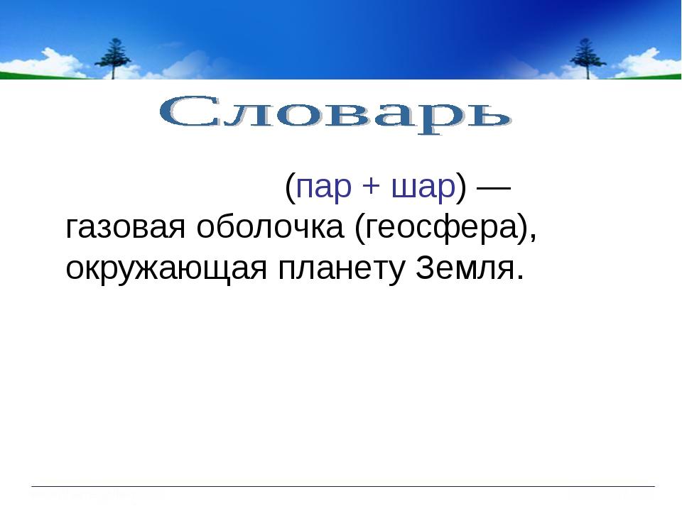 Атмосфе́ра (пар + шар) — газовая оболочка (геосфера), окружающая планету Земля.