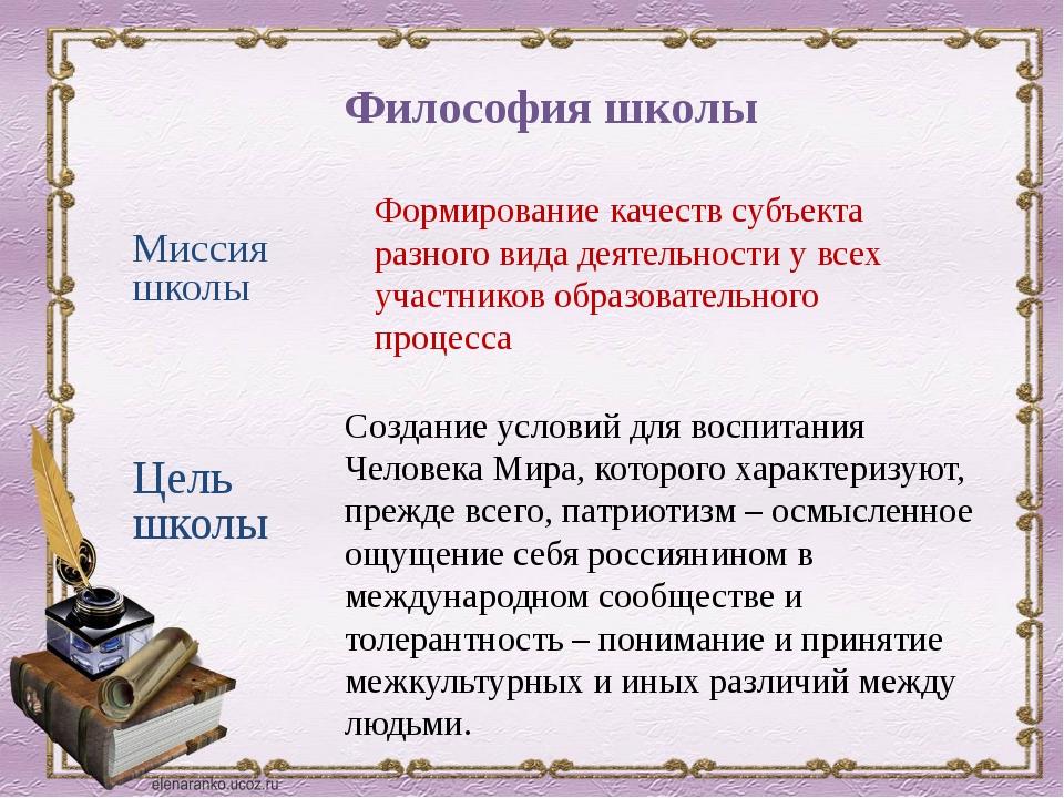 Философия школы Миссия школы Формирование качеств субъекта разного вида деяте...