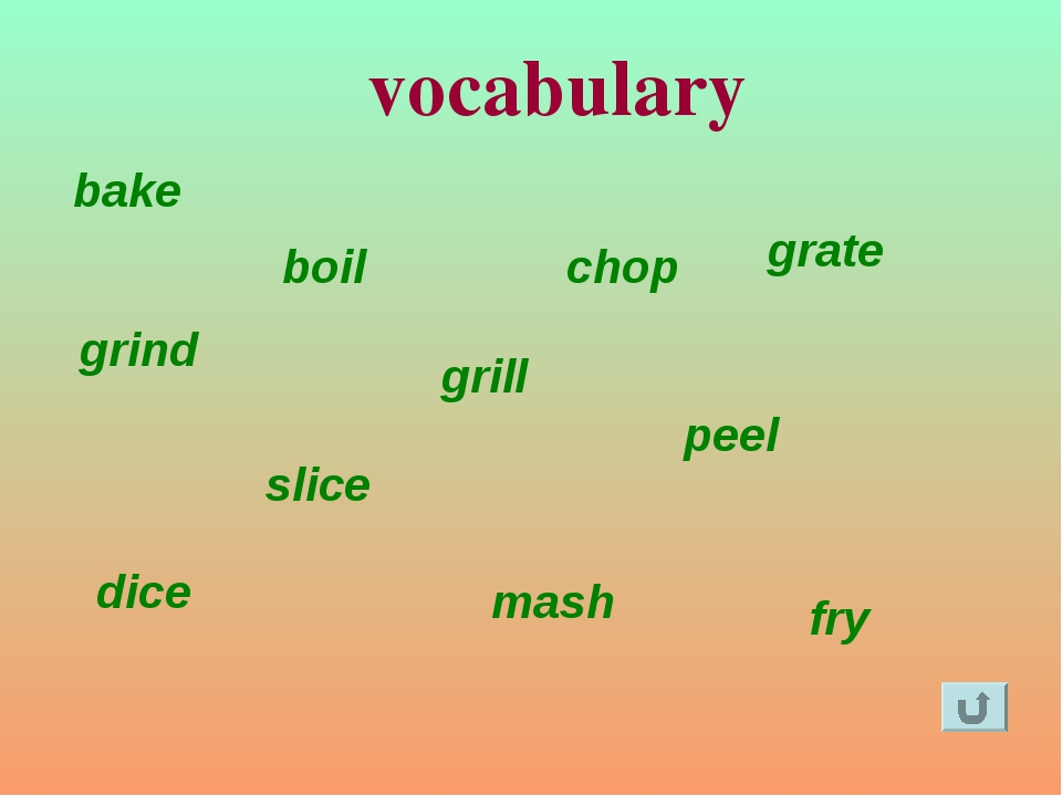 fry bake grill boil grind grate slice chop peel dice mash vocabulary