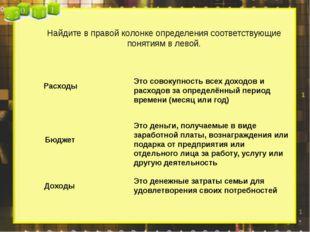 Найдите в правой колонке определения соответствующие понятиям в левой. Расхо