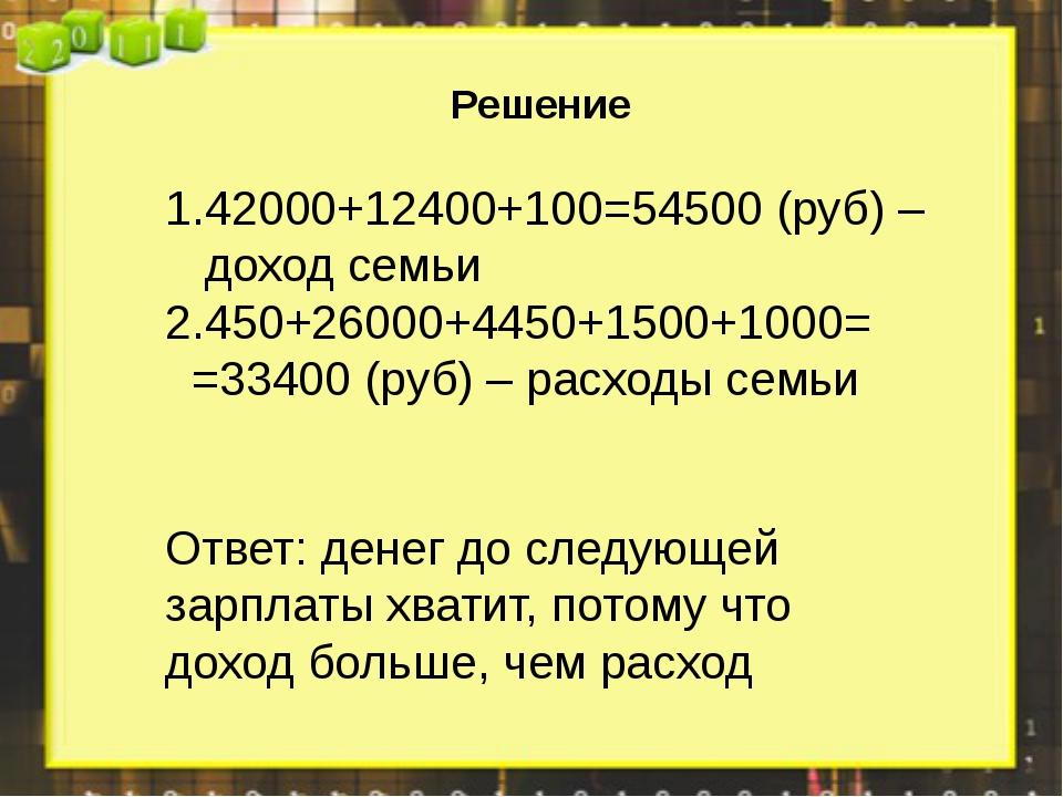 Решение 42000+12400+100=54500 (руб) – доход семьи 450+26000+4450+1500+1000=...