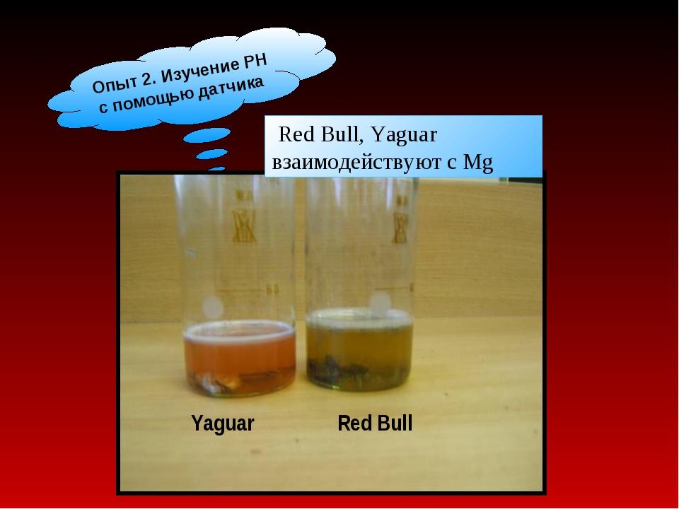 Опыт 2. Изучение РН с помощью датчика Red Bull, Yaguar взаимодействуют с Mg Y...