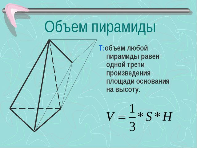 Объем пирамиды Т:объем любой пирамиды равен одной трети произведения площади...