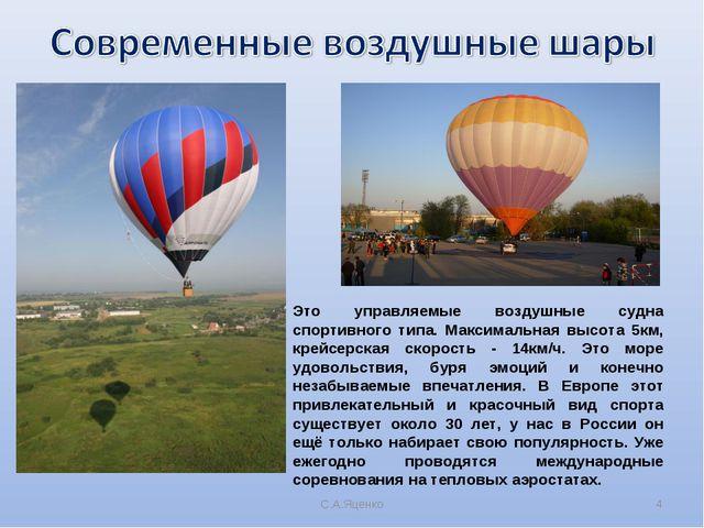 С.А.Яценко * Это управляемые воздушные судна спортивного типа. Максимальная в...