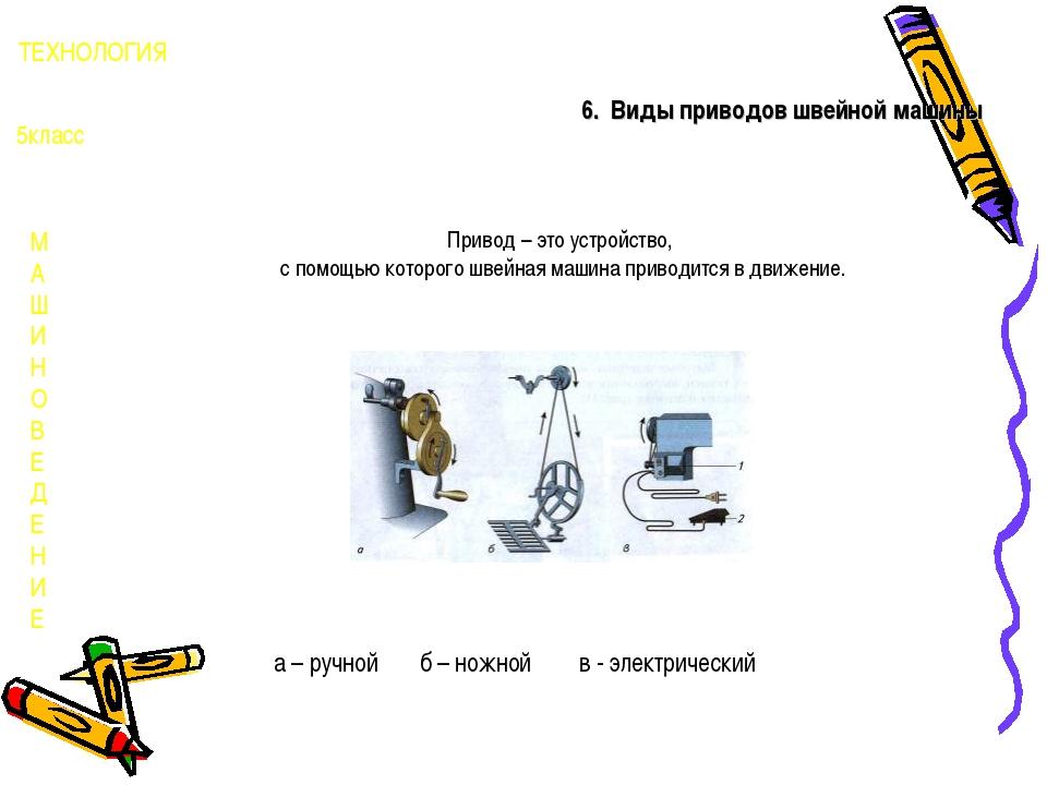 М А Ш И Н О В Е Д Е Н И Е ТЕХНОЛОГИЯ 5класс 6. Виды приводов швейной машины П...