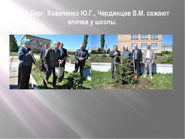 Ю.А.Берг, Коваленко Ю.Г., Чердинцев В.М. сажают елочки у школы.