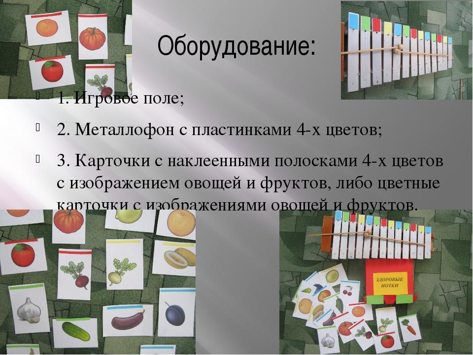 Оборудование: 1. Игровое поле; 2. Металлофон с пластинками 4-х цветов; 3. Кар...