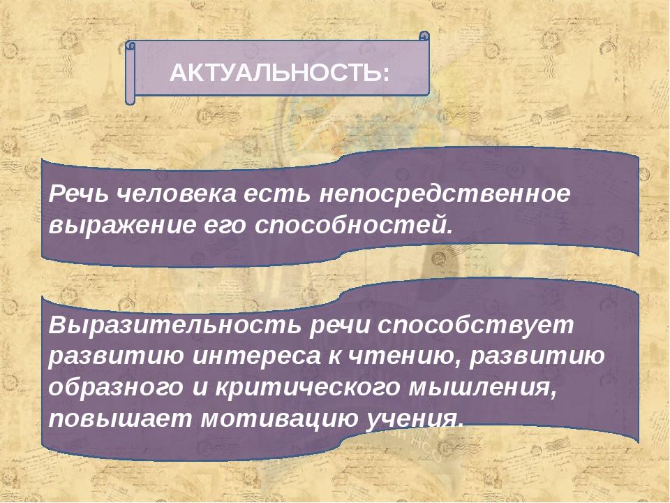 АКТУАЛЬНОСТЬ: Речь человека есть непосредственное выражение его способностей....