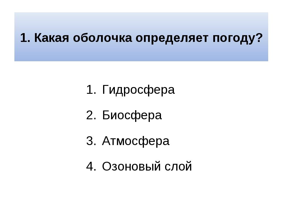1. Какая оболочка определяет погоду? Гидросфера Биосфера Атмосфера Озоновый...