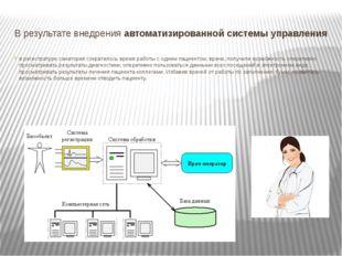 В результате внедренияавтоматизированной системы управления в регистратуре с
