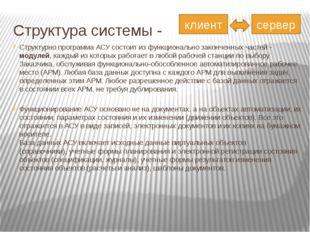Структура системы -  Структурно программа АСУ состоит из функционально закон